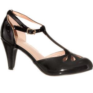 NEW Vintage Pinup T-Strap Heels Pumps Black Patent